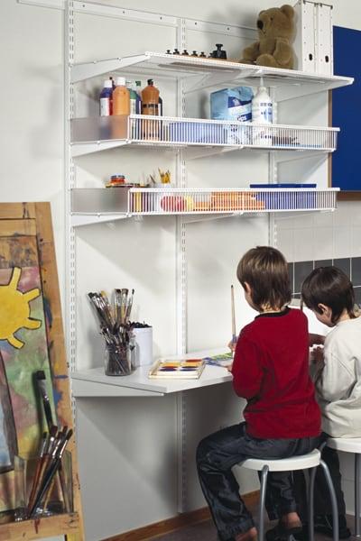 elfa shelving desk for artists