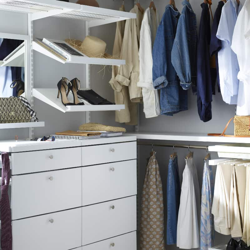 elfa decor walk in closet, drawers, shoe racks and pull out trouser racks