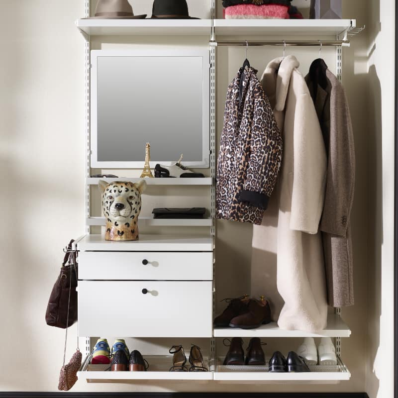 elfa white hallway closet shelving pullout drawers, clip in mirror and shoe racks