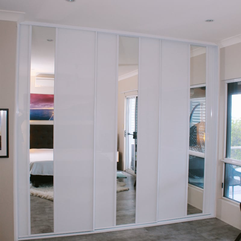 Built In White Glass Wardrobes & Mirrors