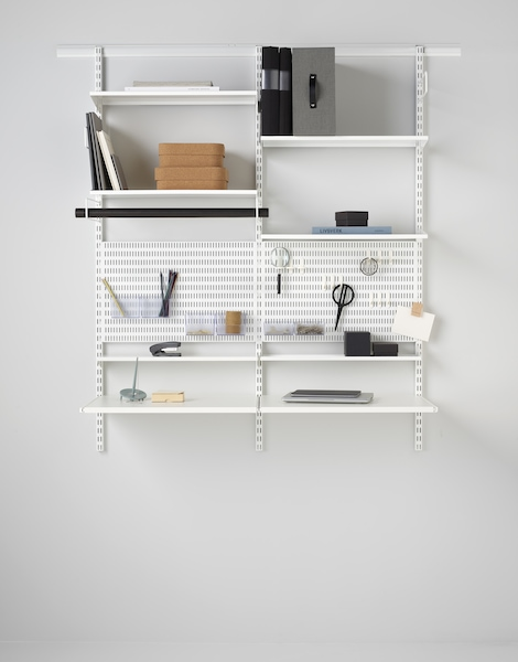 elfa home desk displaying pegboard and accessories