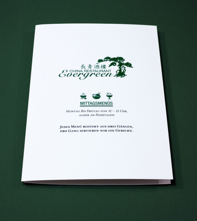 Evergreen  Speisekarten  Menkarten  FORMLOS Berlin