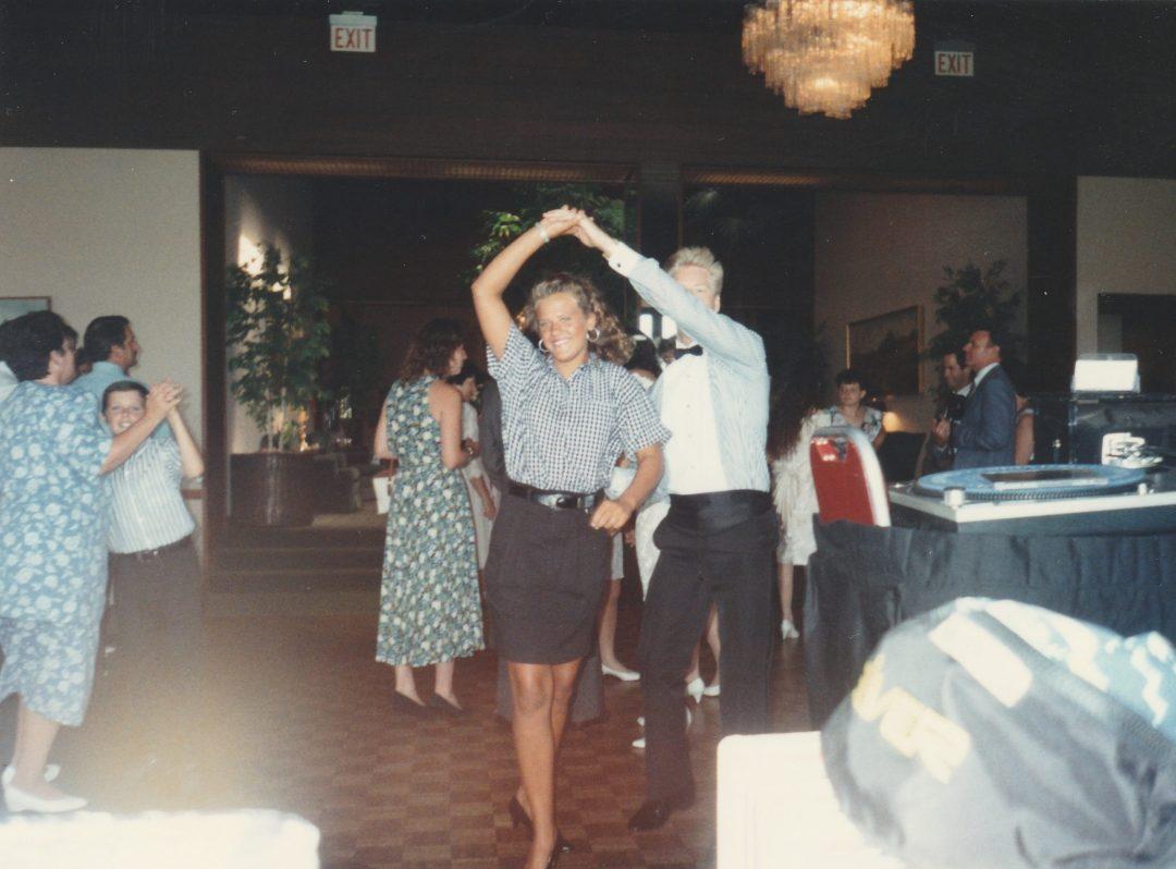 Helping build the dance floor