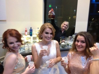 Fun at the wedding bar