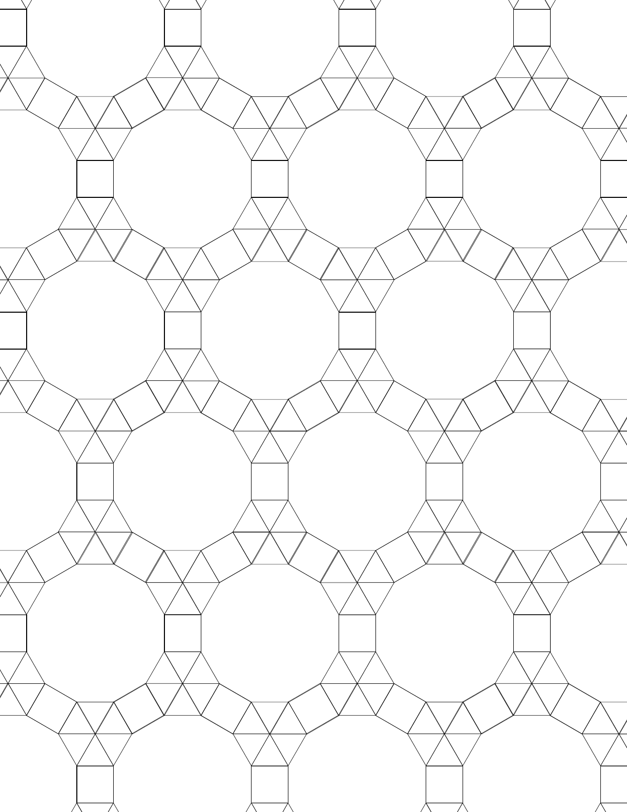 Small Tessellation Graph Paper (3.3.3.3.3,3.3.4.12) Free