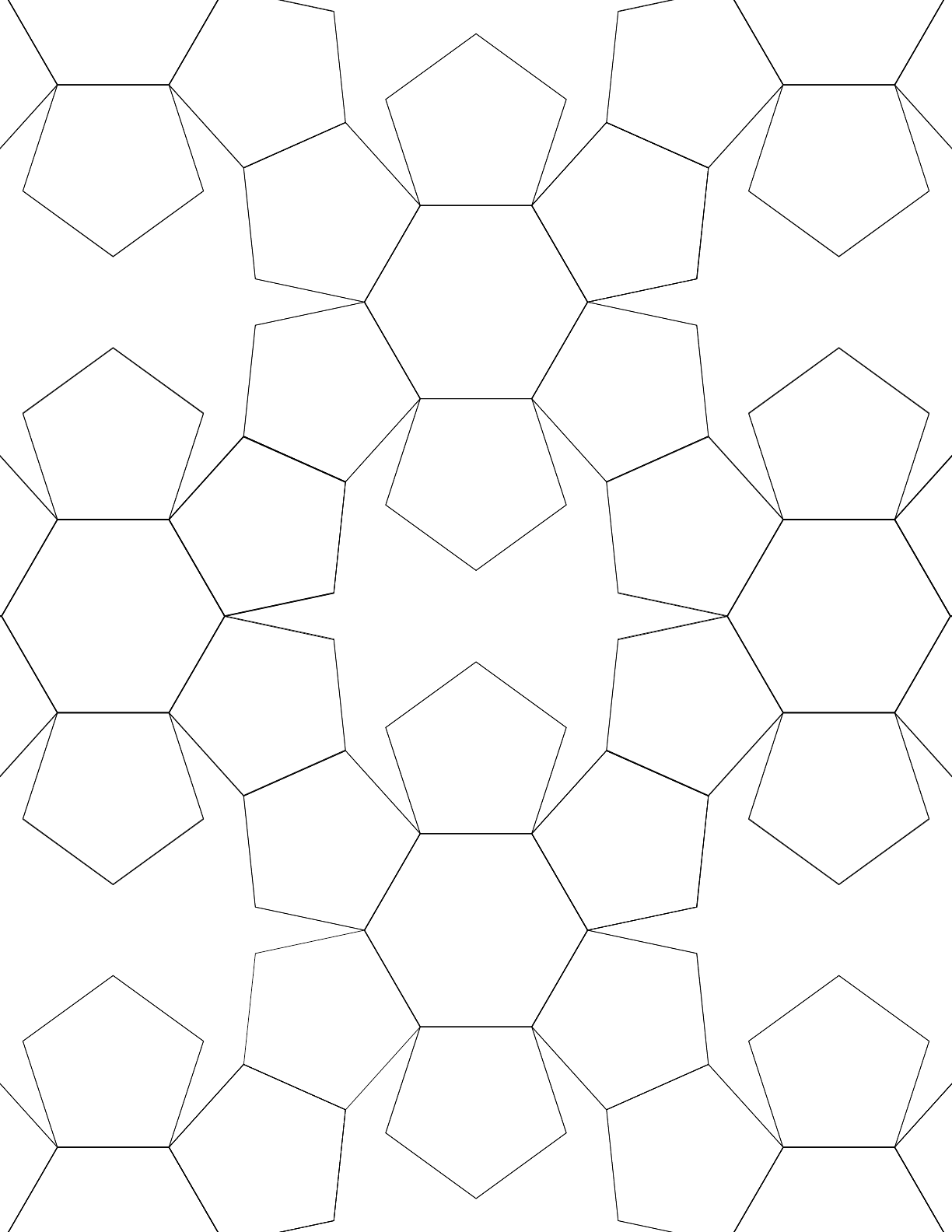 Tiled Pentagons And Hexagons Graph Paper Free Download