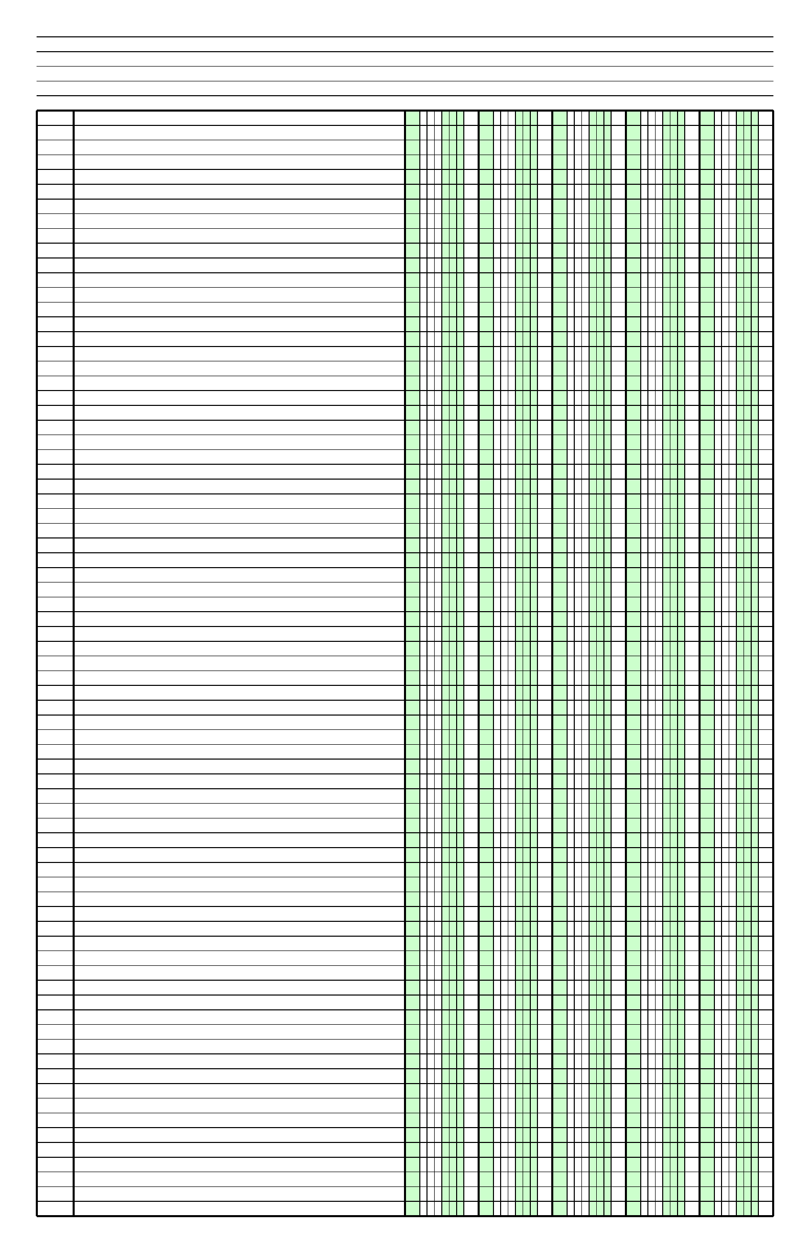 Columnar Paper With Five Columns On Ledger Sized Paper In