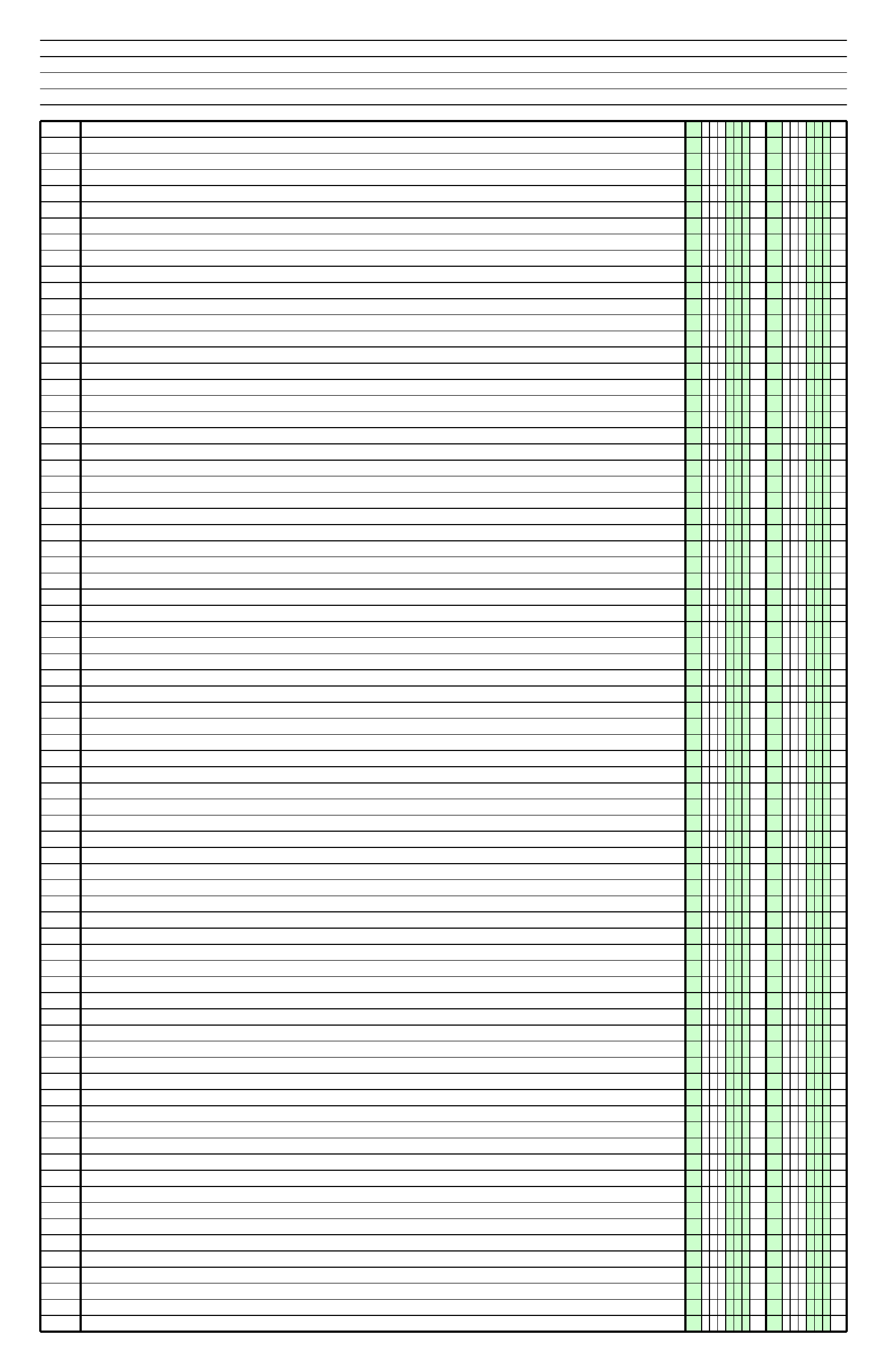 Columnar Paper with Two Columns on LedgerSized Paper in