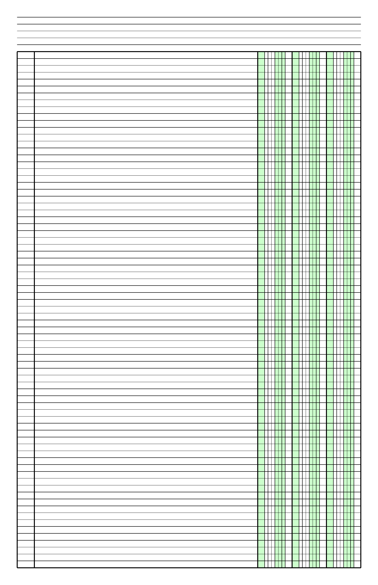Columnar Paper with Three Columns on LedgerSized Paper in Portrait Orientation Free Download