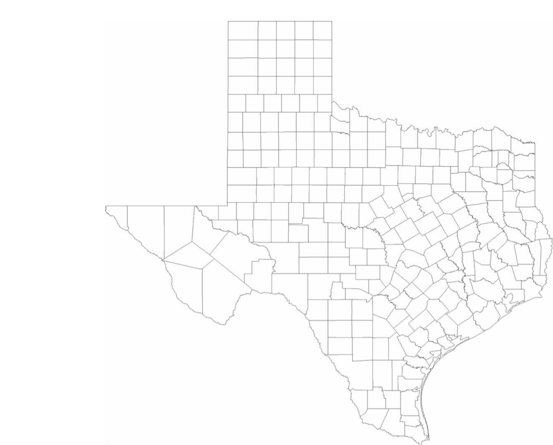 Blank Texas County Map Free Download