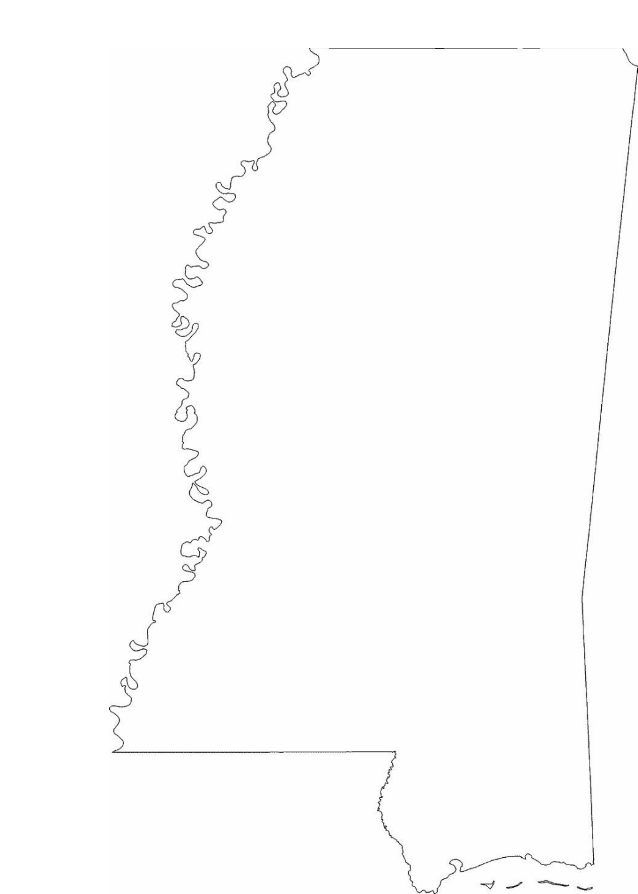 Mississippi State Outline Map Free Download
