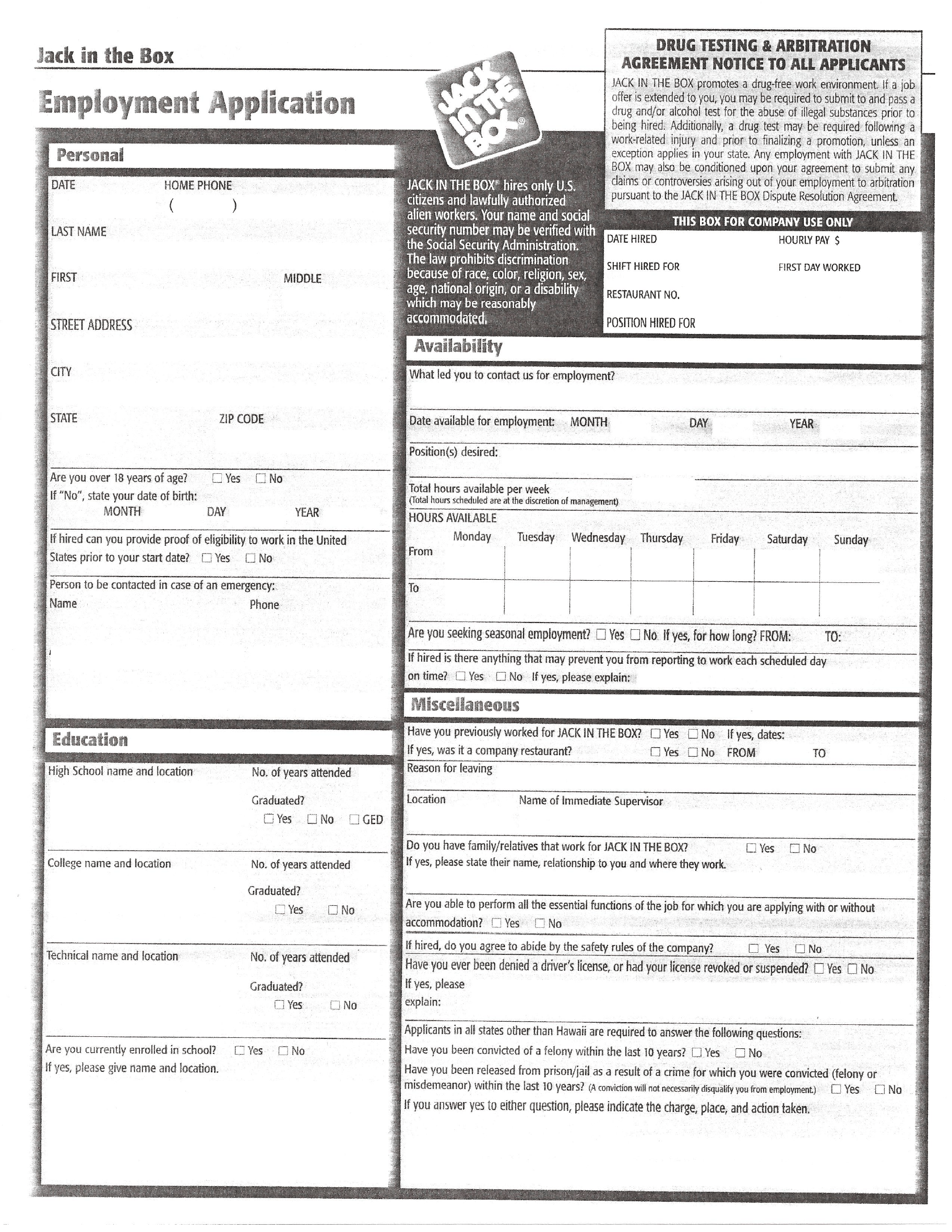 Jack in the Box Part-Time Job Application Form Free Download