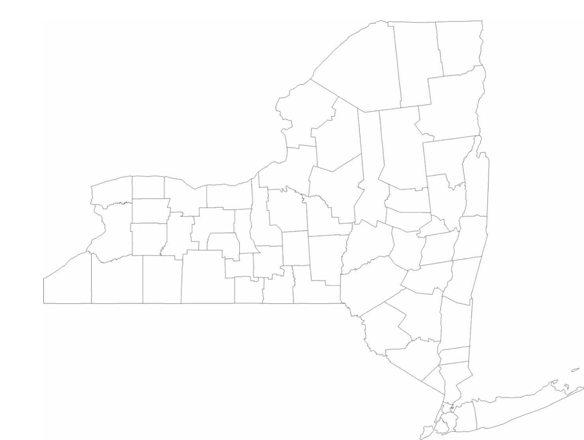 Blank New York County Map Free Download