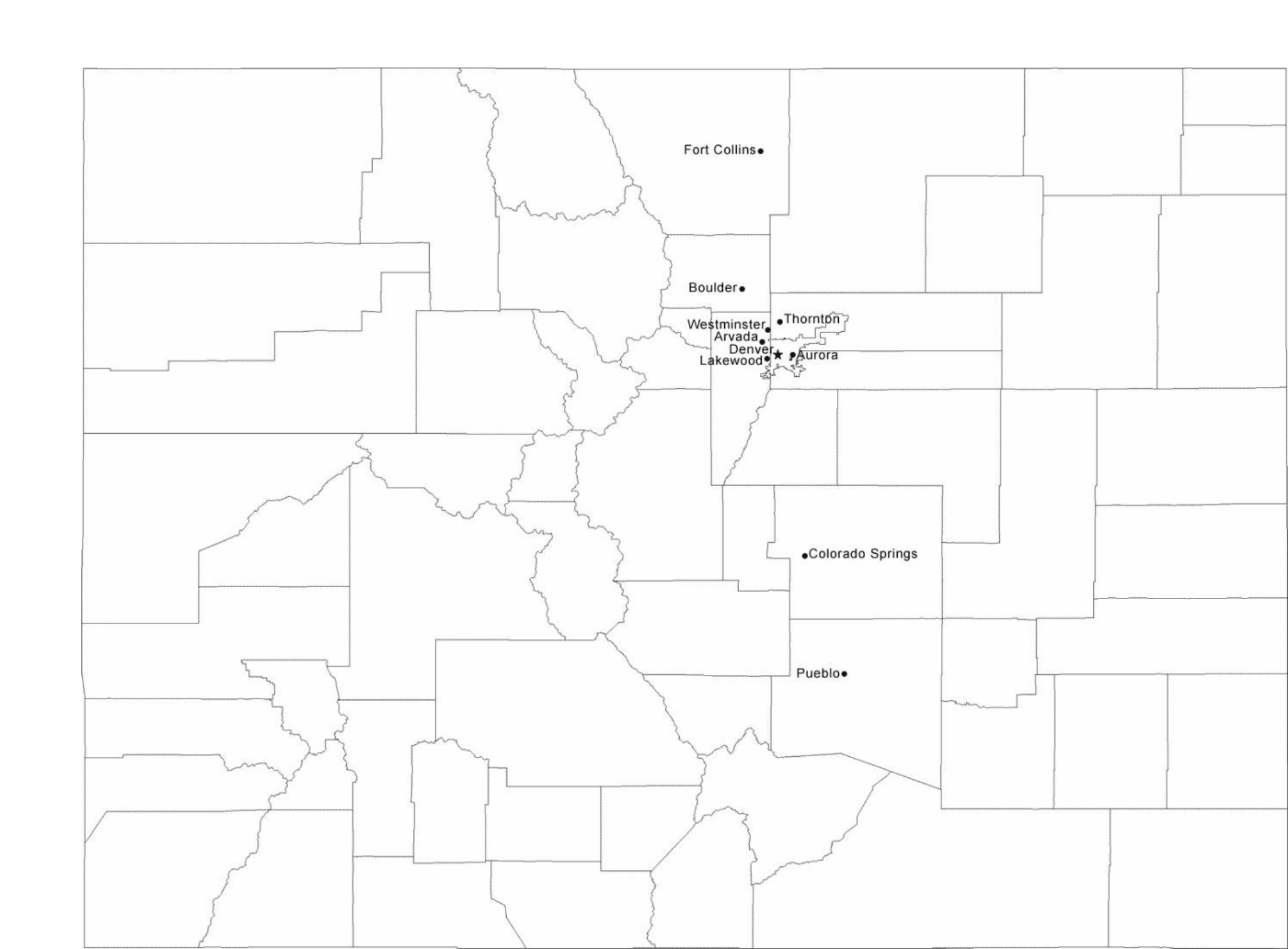 Map of Colorado Cities with City Names Free Download