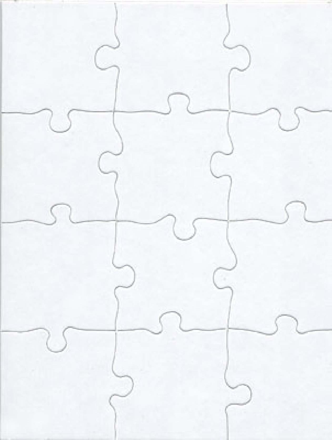 6 Blank Jigsaw Puzzle Template. 12 Pieces.