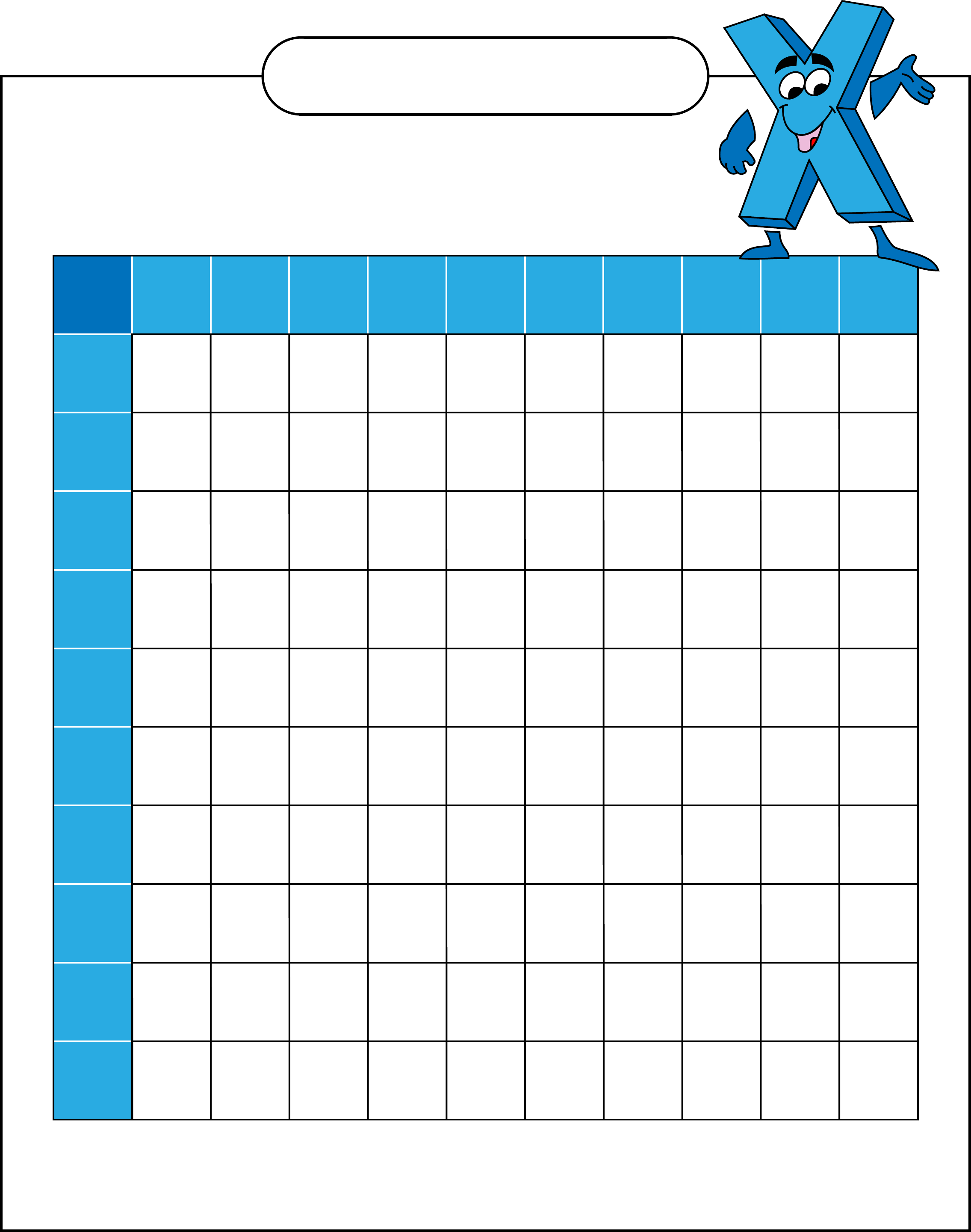 Blank Multiplication Table Free Download
