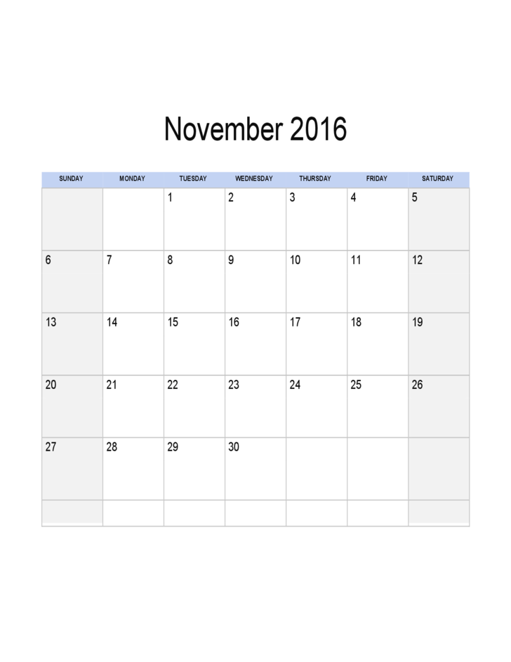November 2016 Calendar Sample Template Free Download