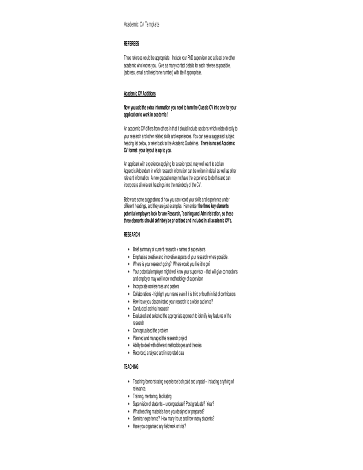 Detailed Academic Cv Template Free Download