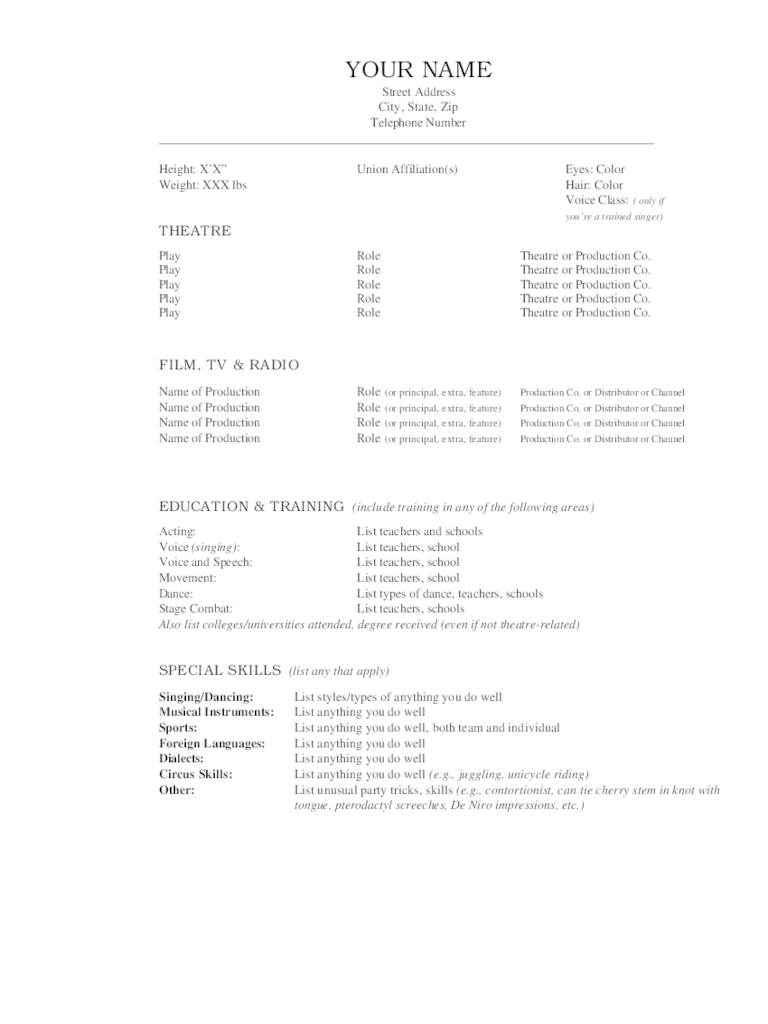 Acting Resume Template 5 Free Templates In PDF Word