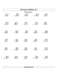 Adding Decimals Worksheet Vertical - adding decimals ...