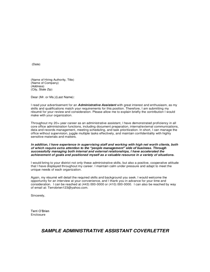 short cover letter for administrative assistant
