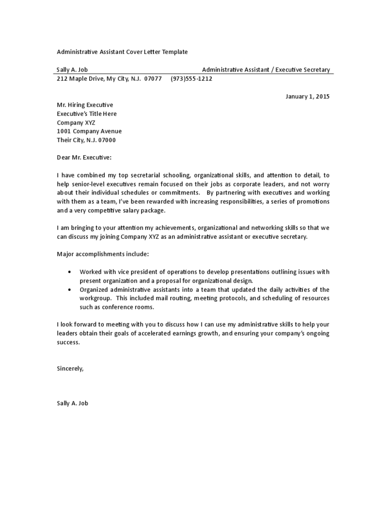 Administrative Assistant Cover Letter Examples 3 Free