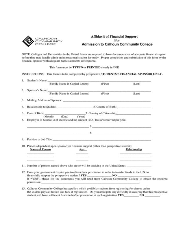What Is Financial Support Document