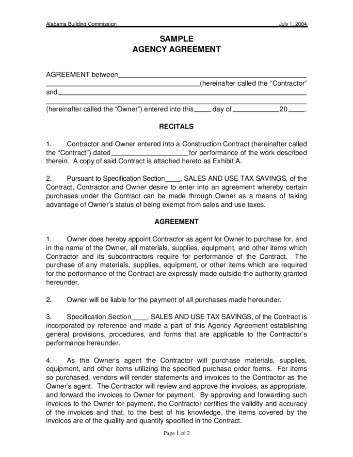 Agency Contract Template For Alabama Free Download