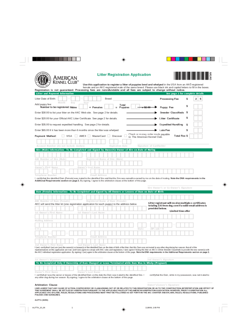 AKC Registration Form 2 Free Templates In PDF Word