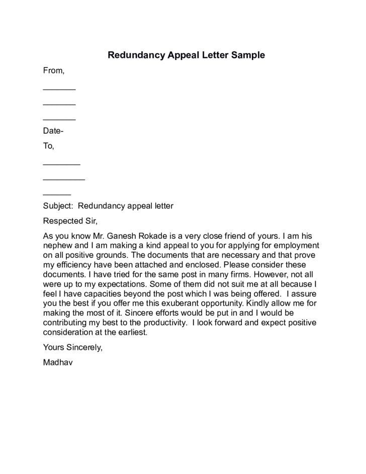 Redundancy Appeal Letter Sample Free Download