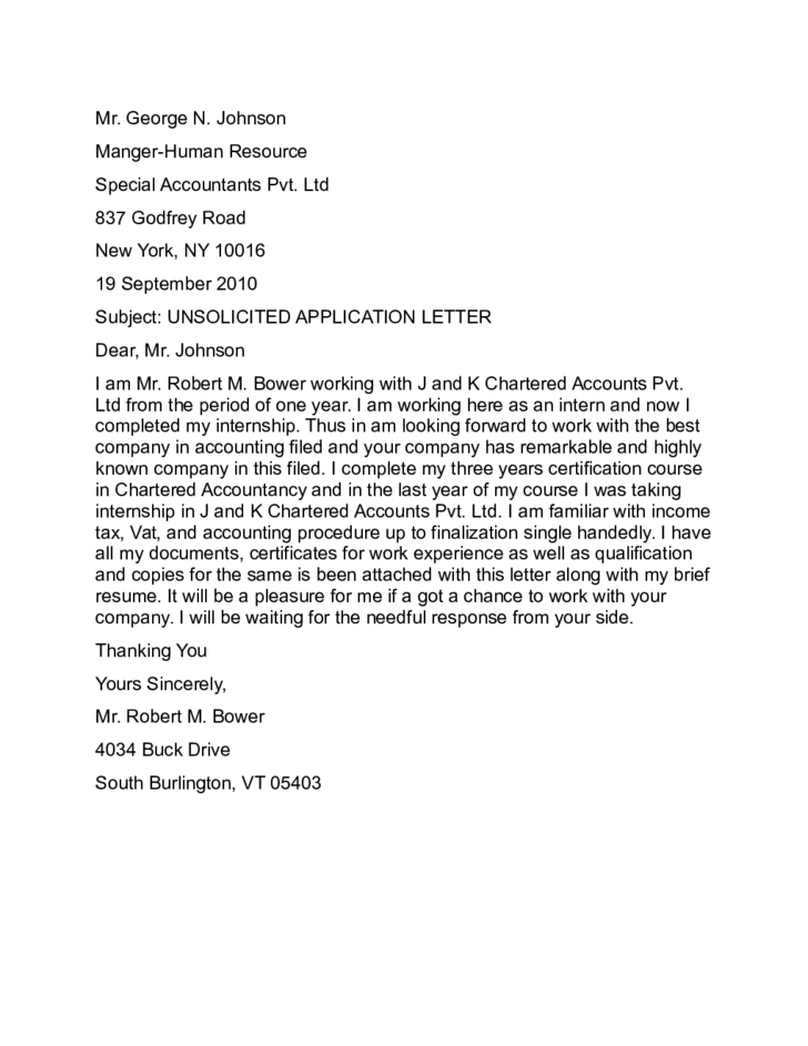 Unsolicited Application Letter Sample Free Download