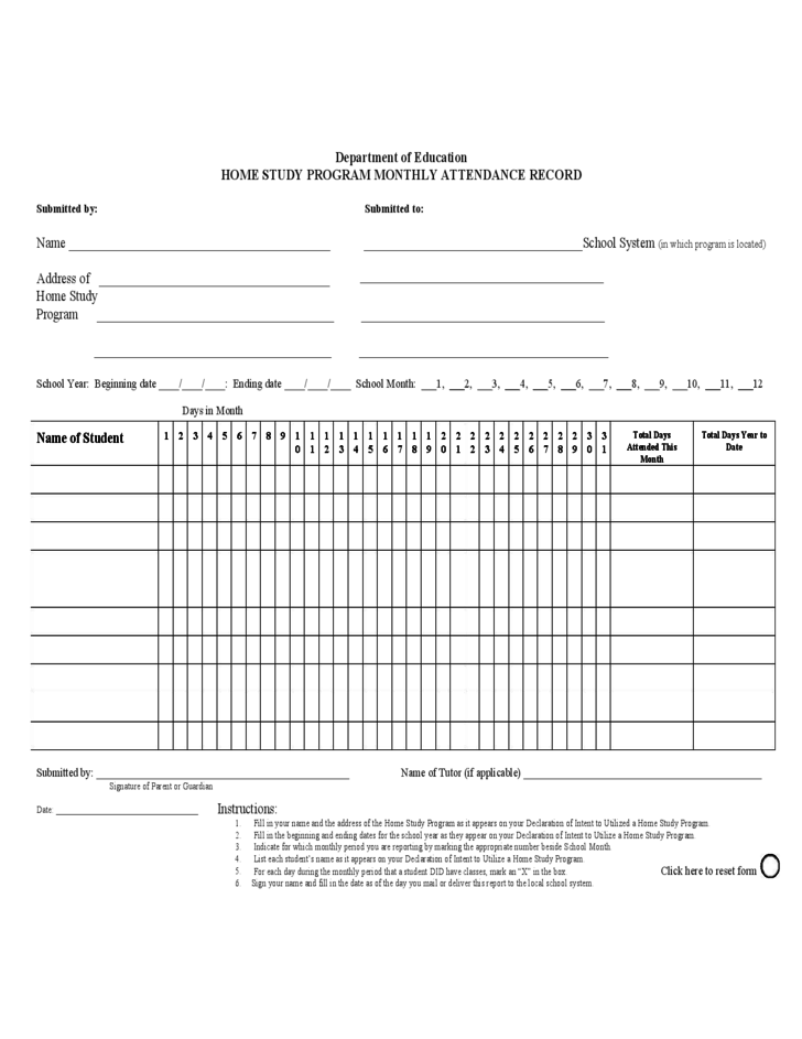 Home Study Program Monthly Attendance Sheet Free Download