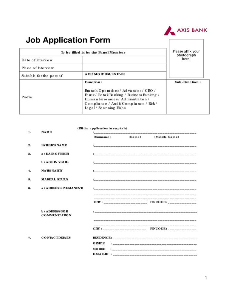Bank Job Application Form  5 Free Templates in PDF Word Excel Download