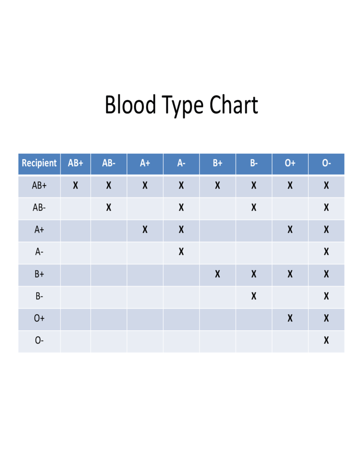 Sample Blood Type Chart Free Download