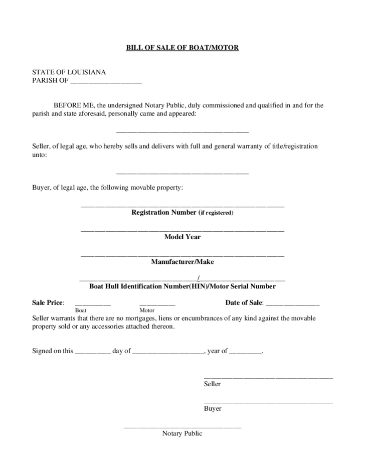 Boat Bill of Sale Form - Louisiana Free Download