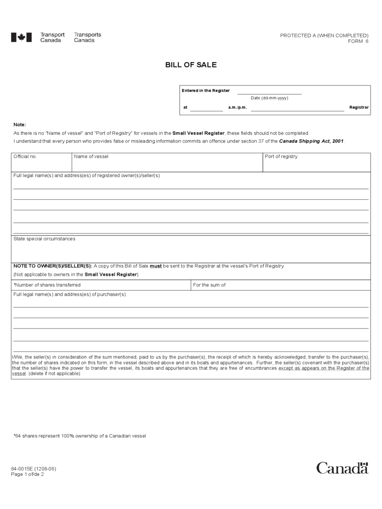 Vessel Bill Of Sale Form - Canada
