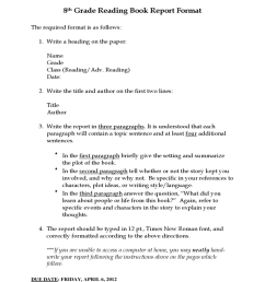 8th Grade Reading Book Report Template Free Download [ 1024 x 768 Pixel ]