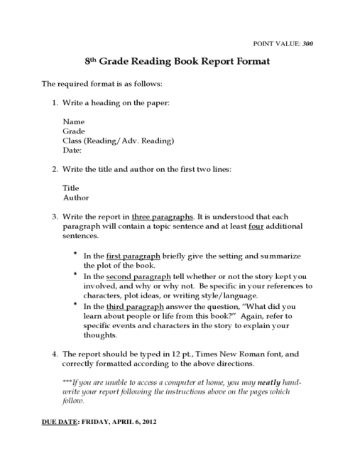 small resolution of 8th Grade Reading Book Report Template Free Download