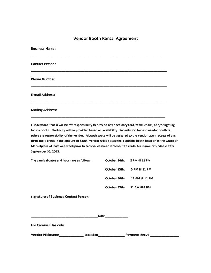 Vendor Booth Rental Agreement Template Free Download