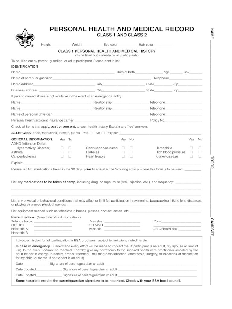 BSA Medical Form - 5 Free Templates in PDF, Word, Excel Download