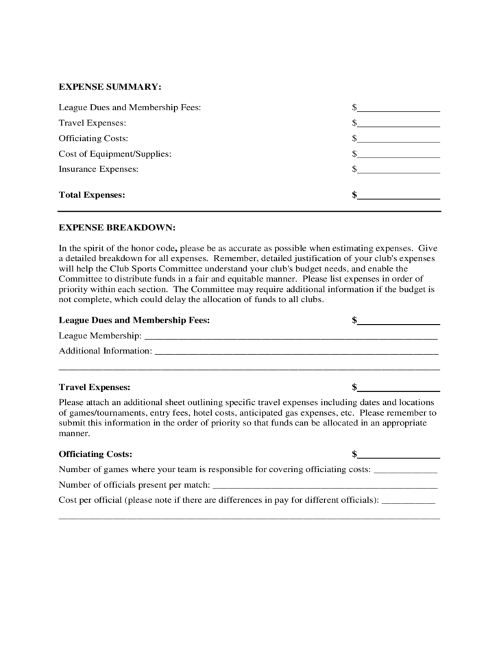 forms for budgets