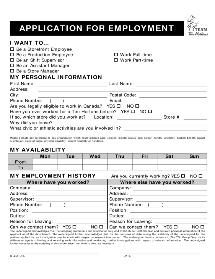 Tim Hortons Employment Application Form Free Download