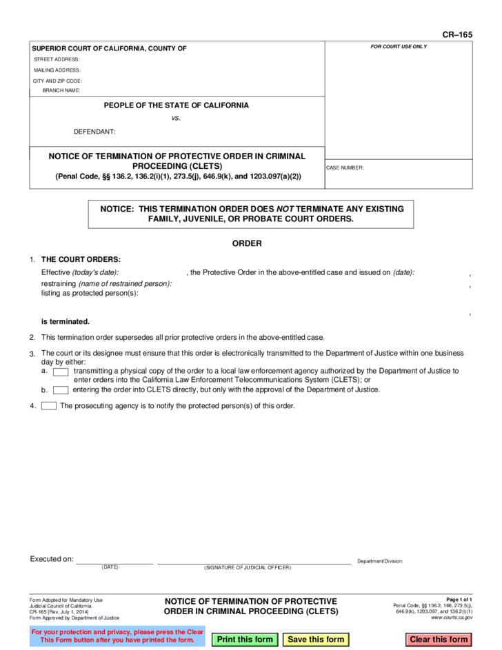 CR165 Notice of Termination of Protective Order in