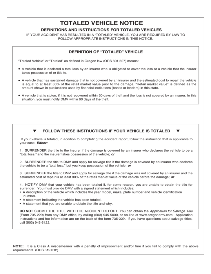 Car Accident Report Form Oregon Free Download