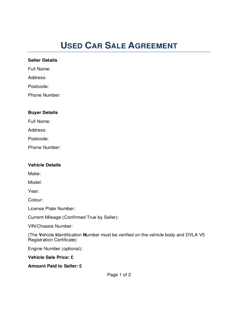 Vehicle Sale Contract Template