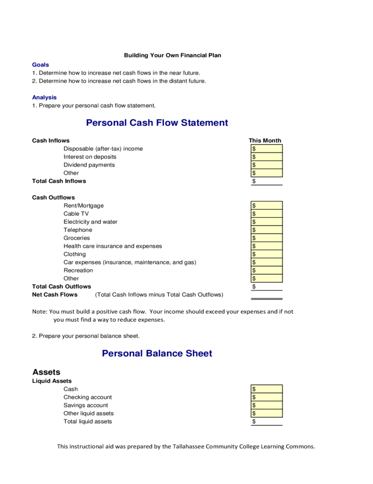 template for cash flow