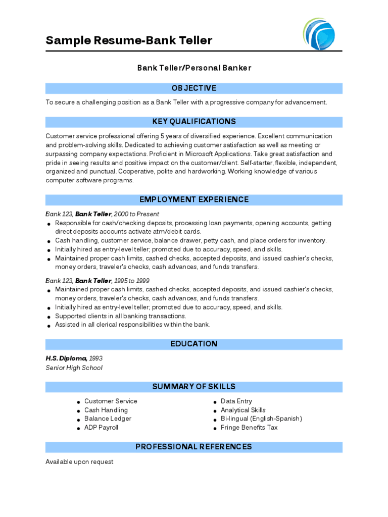 free sample resume for bank teller