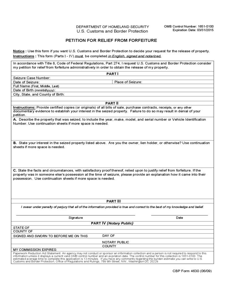 CBP Form 4630 Petition For Relief From Forfeiture Free