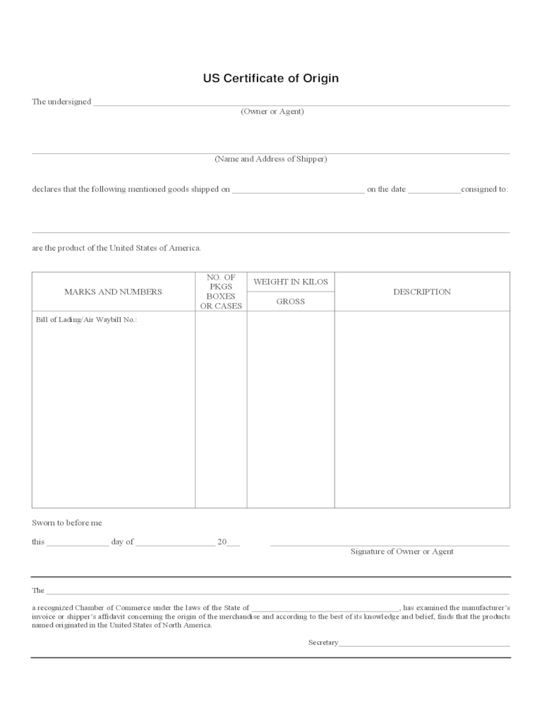 Example Certificate Of Origin Generic Certificate Of Origin Template  Funeral Announcement 32