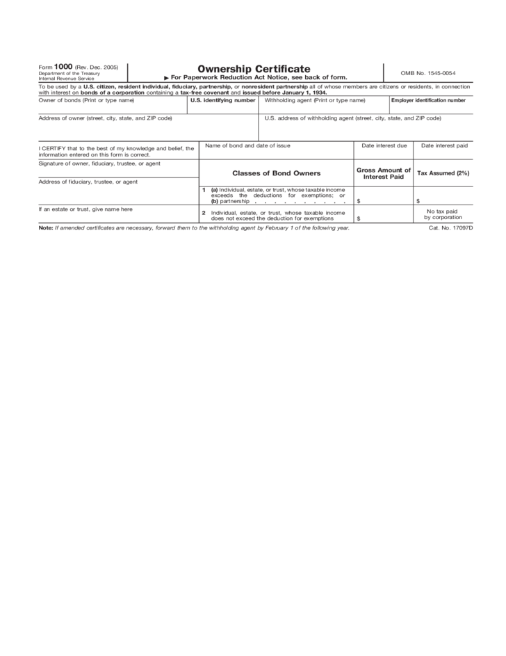 Form 1000 Ownership Certificate Form 2005 Free Download